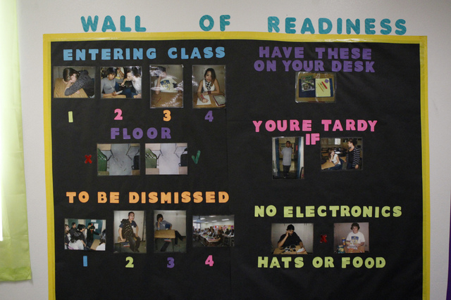 A wall inside the classroom of math teacher Allysa Starkweather displays the rules of her classroom during an interview at Schofield Middle School in Henderson Tuesday, Aug. 26, 2014. Starkweather ...