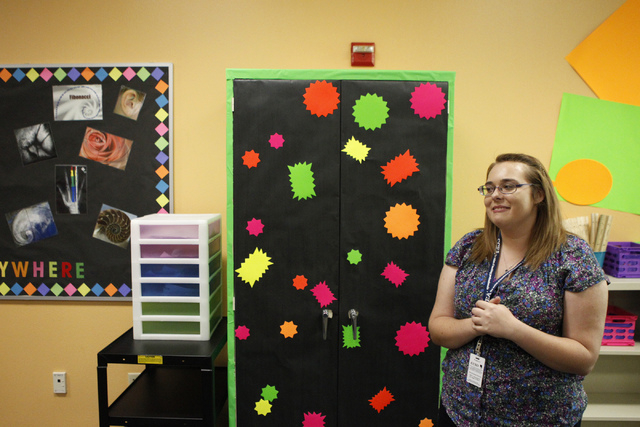 Allysa Starkweather, math teacher at Schofield Middle School, shows her classroom in Henderson during an interview Tuesday, Aug. 26, 2014. Starkweather, 23, is a recent college graduate and first  ...