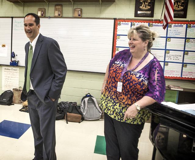 Former Green Valley High School principal Jeff Horn chats with teacher Kim RItzer during choir class at the school at 460 Arroyo Grande Boulevard on Wednesday, Aug. 27,2014.  (Jeff Scheid/Las Vega ...