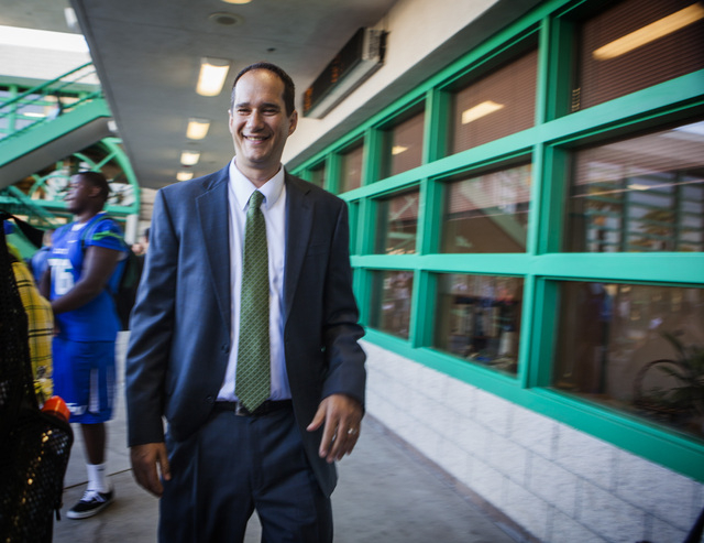 Former Green Valley High School principal Jeff Horn walks in the quad at the school  at  460 Arroyo Grande Boulevard on Wednesday, Aug. 27,2014.  (Jeff Scheid/Las Vegas Review-Journal)