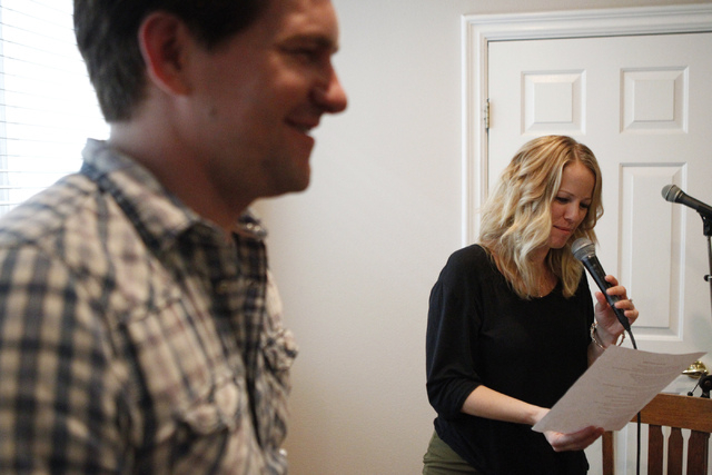 Singer Kristen Hertzenberg, right, waits for her cue during a music rehearsal at a private home in Las Vegas Tuesday, Sept. 16, 2014. (Erik Verduzco/Las Vegas Review-Journal)