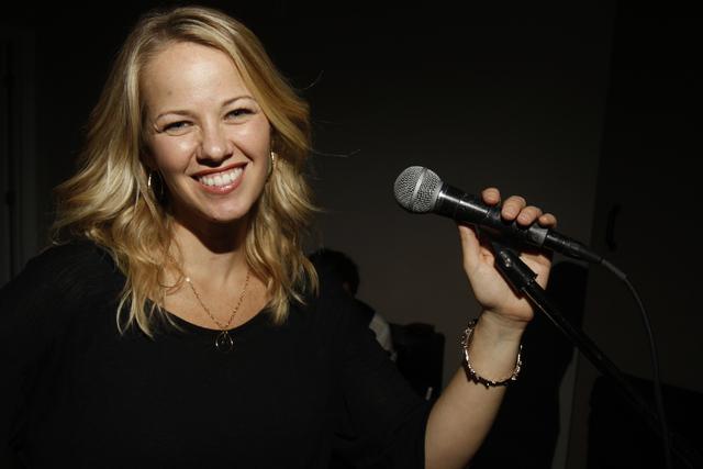 Singer Kristen Hertzenberg poses for a portrait during a music rehersal at a private home in Las Vegas Tuesday, Sept. 16, 2014. (Erik Verduzco/Las Vegas Review-Journal)