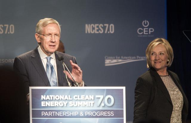 Senate Majority Leader Harry Reid,left, and Hillary Clinton  during National Clean Energy Summit 7.0: Partnership & Progress at Mandalay Bay hotel-casino on Thursday, Sept. 4, 2014. Clinton, a pos ...