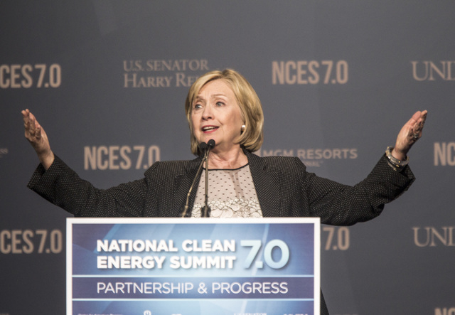 Hillary Clinton speaks during National Clean Energy Summit 7.0: Partnership & Progress at Mandalay Bay on Sept. 4, 2014. Clinton, a possible 2016 presidential candidate, was the keynote at the ann ...