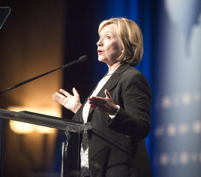 Hillary Clinton  speaks during National Clean Energy Summit 7.0: Partnership & Progress at Mandalay Bay hotel-casino on Thursday, Sept. 4, 2014. Clinton, a possible 2016 presidential candidate, wa ...