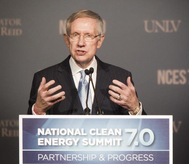 Senate Majority Leader Harry Reid s speaks during National Clean Energy Summit 7.0: Partnership & Progress at Mandalay Bay hotel-casino on Thursday, Sept. 4, 2014. (Jeff Scheid/Las Vegas Review-Jo ...