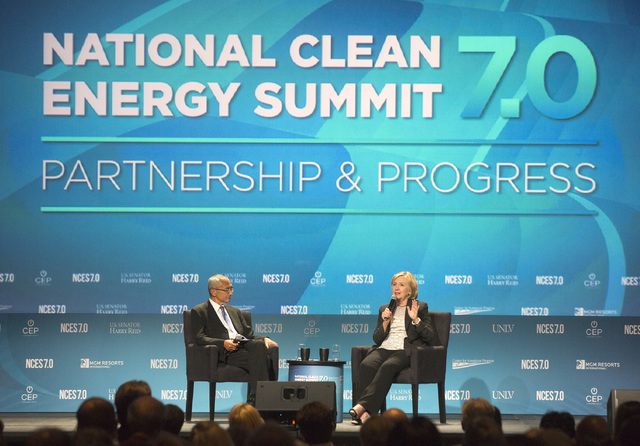 John Podesta,left , counselor to President Obama and Hillary Clinton, former Secretary of State, during question and answer session at National Clean Energy Summit 7.0: Partnership & Progress at M ...