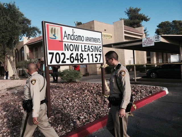 Las Vegas police are investigating a  fatal shooting Thursday, Sept. 18, 2014, at Andiamo Apartments in the 4600 block of Vegas Drive, near Decatur Boulevard. Police said one man is dead and anoth ...