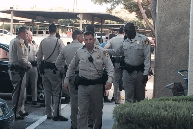 Las Vegas police are investigating a fatal shooting Thursday, Sept. 18, 2014, at Andiamo Apartments in the 4600 block of Vegas Drive, near Decatur Boulevard. (Bizu Tesfaye/Las Vegas Review-Journal)