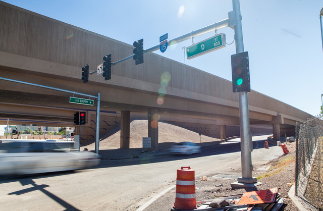 A car enters the D Street onramp for southbound Interstate 15 in Las Vegas on Tuesday, Sept. 30, 2014. The onramp had been closed for construction but was recently reopened. (Chase Stevens/Las Veg ...