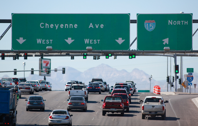 Traffic on Cheyenne Avenue travels west at the Interstate 15 intersection in Las Vegas on Tuesday, Sept. 30, 2014. Ramps are slated to close Oct. 3 through Oct. 6. with lane restrictions in both d ...
