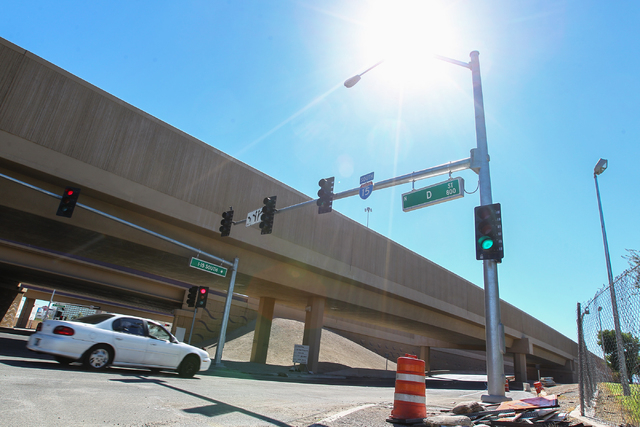 A car enters the D Street onramp for southbound I-15 in Las Vegas on Tuesday, Sept. 30, 2014. The onramp had been closed for construction but was recently reopened. (Chase Stevens/Las Vegas Review ...