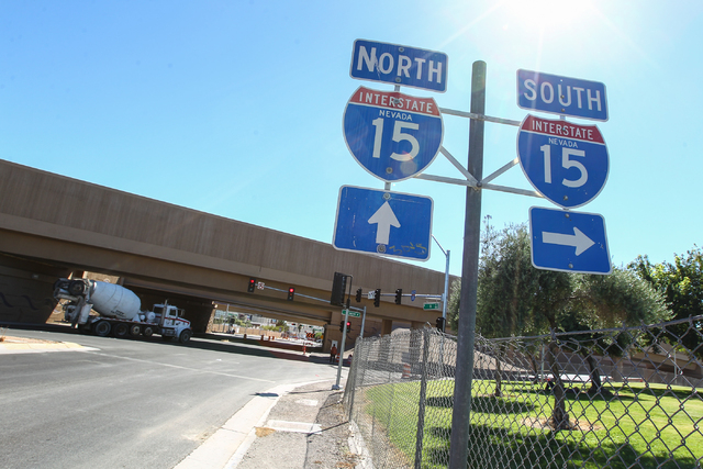 Signs for on ramps for Interstate 15 are seen along D Street in Las Vegas on Tuesday, Sept. 30, 2014. The southbound on ramp, on right, had been closed for construction but was recently reopened.  ...