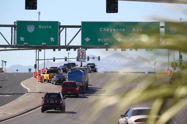 Traffic on Cheyenne Avenue waits to enter southbound Interstate 15 in Las Vegas on Tuesday, Sept. 30, 2014. Ramps are slated to close Oct. 3 through Oct. 6. with lane restrictions in both directio ...