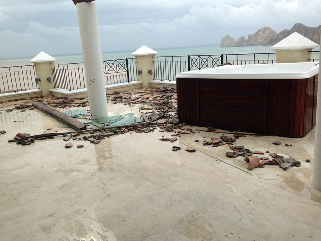 Damage from tropical storm Odile is seen on a beach in Cabo San Lucas over the weekend. (Courtesy Alexa Corcoran)