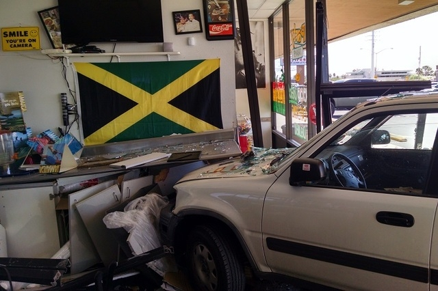 No one was injured when a small SUV smashed into a restaurant on West Flamingo Road Wednesday, Sept. 24, 2014, Las Vegas Police said. (Courtesy, Steve Sanson)