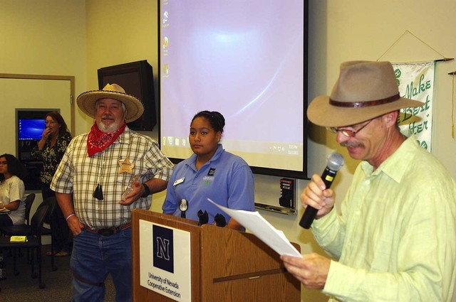 Council President Randy hallman, Ambassador Daneya Kelley, and 2013 Leader of the Year Rick Huskins, speak during 4-H Achievement Days at the University of Nevada Cooperative Extension office in L ...