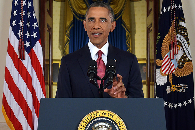 President Barack Obama addresses the nation from the Cross Hall in the White House in Washington, Wednesday, Sept. 10, 2014. (AP Photo/Saul Loeb, Pool)