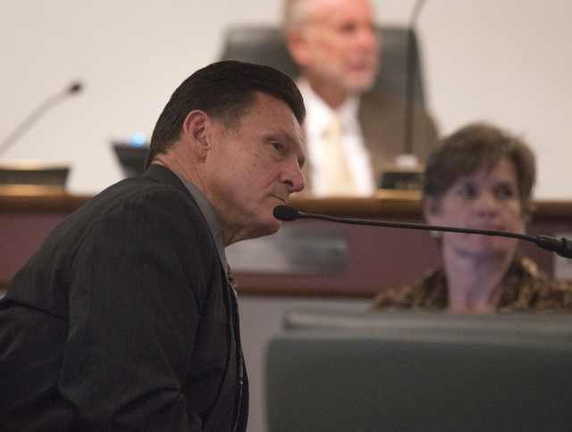 Suspended Family Court Judge Steven Jones  testifies during a Nevada Commission on Judicial Discipline hearing at Las Vegas Convention Center Boardroom on Thursday, Dec. 5, 2013. The committee is  ...