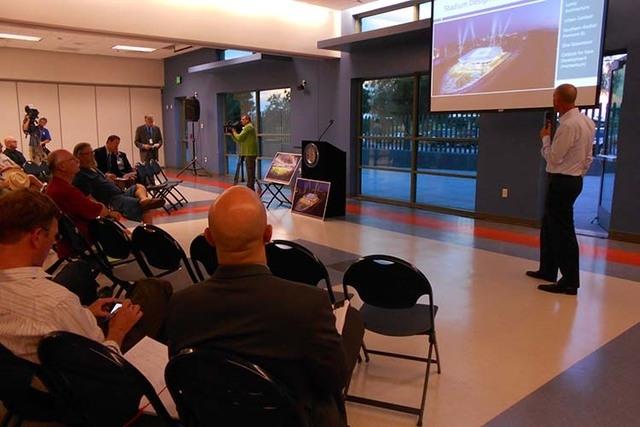 Justin Findlay presents soccer stadium proposal. (Alan Snel/Las Vegas Review-Journal)