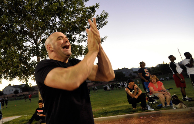 UFC president Dana White applauds during his son's football game at All-American Park in Las Vegas on Tuesday, Sept. 23, 2014. (David Becker/Las Vegas Review-Journal)