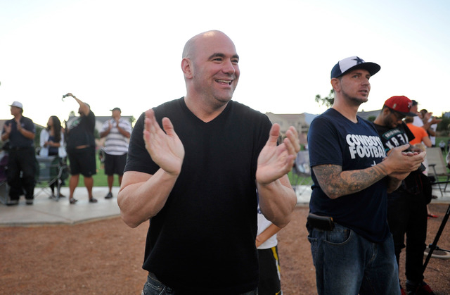 UFC president Dana White applauds during his son football game at All-American Park in Las Vegas on Tuesday, Sept. 23, 2014. (David Becker/Las Vegas Review-Journal)