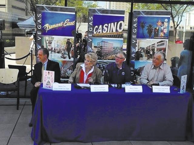 North Las Vegas Mayor John Lee, Las Vegas Mayor Carolyn Goodman, Henderson Mayor Andy Hafen and Clark County Commission Chairman Steve Sisolak judge the Emergency Kit Cook-off Sept. 10, 2014, as p ...