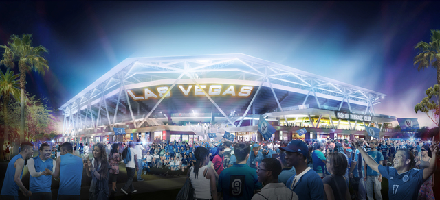 An artist's rendering shows a $200 million, 24,000-seat MLS stadium proposed for downtown Las Vegas. (Rendering courtesy Findlay Sports & Entertainment)