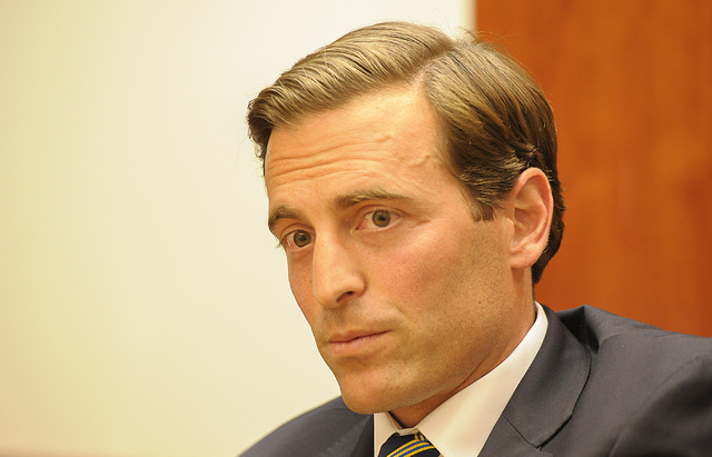Adam Laxalt, candidate for Attorney General, speaks with the Review-Journal editorial board on Wednesday, Sept. 3, 2014. (Mark Damon/Las Vegas Review-Journal)