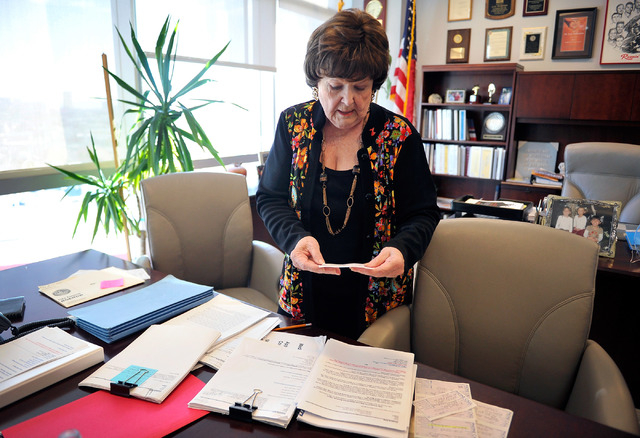 Las Vegas Councilwoman Lois Tarkanian reviews reviews messages from constituents Tuesday, Sept. 30, 2014, in her City Hall office before making her final decision on the proposed downtown professi ...