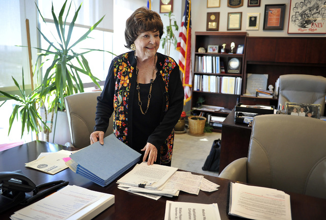 Las Vegas Councilwoman Lois Tarkanian reviews reports Tuesday, Sept. 30, 2014, in her City Hall office before making her final decision on the proposed downtown professional soccer stadium. Tarkan ...