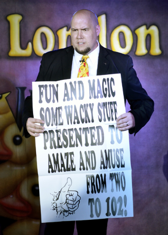 """Comedy magician Adam London performs in """"Laughternoon"""" at the D Showroom in the D hotel-casino at 301 Fremont St. in Las Vegas on March 21, 2013. (Bill Hughes/Las Vegas Review-Journal)"""