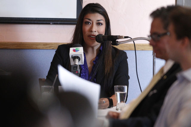 Nevada lieutenant governor candidate Assemblywoman Lucy Flores, D-Las Vegas, speaks during her first debate against State Sen. Mark Hutchison, R-Las Vegas, at Dona Maria Tamales restaurant in Las  ...