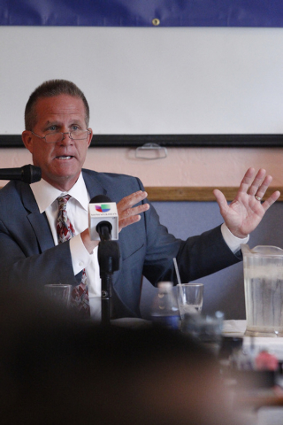 Nevada lieutenant governor candidate State Sen. Mark Hutchison, R-Las Vegas, speaks during his first debate against Assemblywoman Lucy Flores, D-Las Vegas, at Dona Maria Tamales restaurant in Las  ...