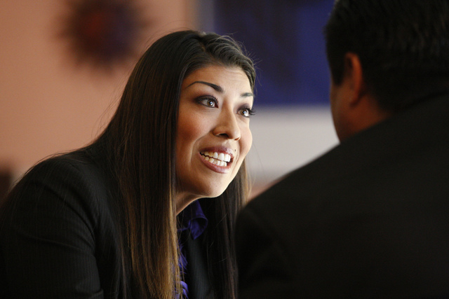 Nevada lieutenant governor candidate Assemblywoman Lucy Flores, D-Las Vegas, greets attendees during her first debate against State Sen. Mark Hutchison, R-Las Vegas, at Dona Maria Tamales restaura ...