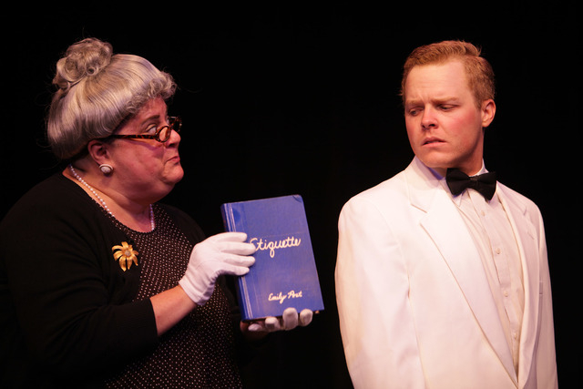 "Las Vegas Little Theatre's ""Mrs. Mannerly,"" about a children's manners class in 1960s Ohio, features Gillen Brey as the title character -- and Michael Blair as everyone else. (Courtesy photo)"