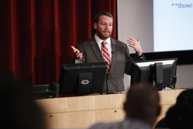 John Hudak, fellow at the Brookings Institution, speaks on the costs and consequences on outsourcing medical education from Las Vegas during a forum on valuing a UNLV Medical School at the Greensp ...
