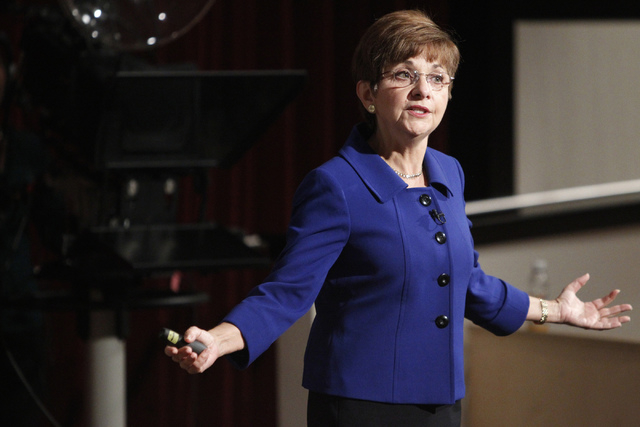 Deborah German, dean at the University of Central Florida College of Medicine, speaks during a forum on valuing a new UNLV Medical School at the Greenspun Hall Auditorium at UNLV Monday, Sept. 29, ...