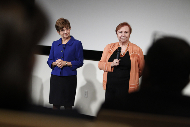Deborah German, left, dean at the University of Central Florida College of Medicine, and Barbara Atkinson, dean at the UNLV School of Medicine, take questions from the audience during a forum on v ...