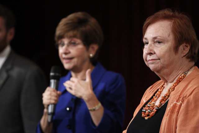 Deborah German, left, dean at the University of Central Florida College of Medicine, and Barbara Atkinson, dean at the UNLV School of Medicine, answer questions from the audience during a forum on ...
