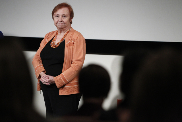 Barbara Atkinson, dean at the UNLV School of Medicine, answers questions from the audience during a forum on valuing a new UNLV Medical School at the Greenspun Hall Auditorium at UNLV Monday, Sept ...