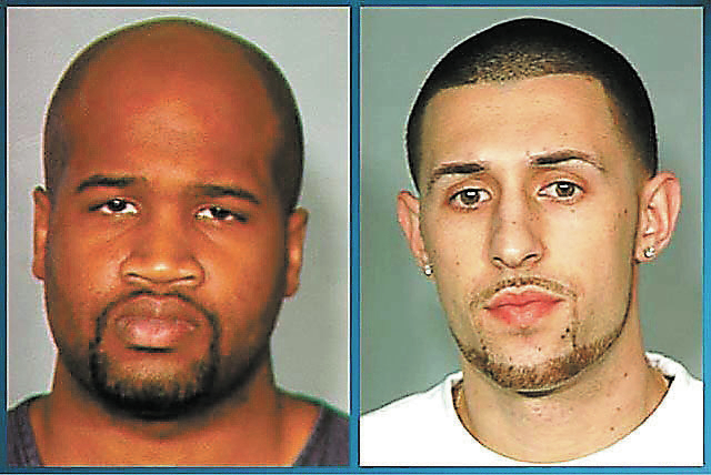 Terence Delucia identified Robert Estall, 25, right, and Abraham Austin, 28, left, as the two men who dressed in white collared shirts and black ties and beat him bloody while robbing him at gun p ...