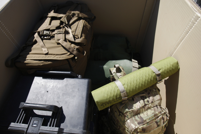 Nevada National Guard unit equipment is seen inside a container at the North Las Vegas Readiness Center in North Las Vegas Friday, Sept. 12, 2014. Next week, 29 Nevada National Guard members in No ...
