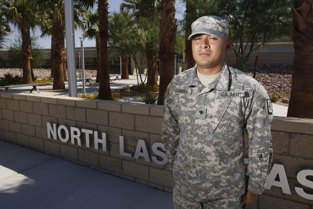 Nevada National Guard  Spc. Jonnathan Cabrera poses for a portrait at the North Las Vegas Readiness Center in North Las Vegas Friday, Sept. 12, 2014. Cabrera and 28 other Nevada National Guard mem ...