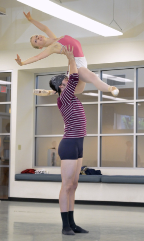 """Steven Goforth lifts Caroline MacDonald during a rehearsal for """"Seasons"""" at the Nevada Ballet Theatre studios at 1651 Inner Circle in Las Vegas on Wednesday, Sept. 10, 2014. The company  ..."""