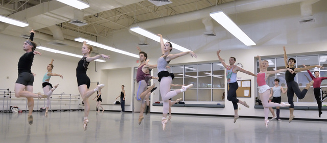 """Nevada Ballet Theatre members dance during a rehearsal for """"Seasons"""" in one of the company studios at 1651 Inner Circle in Las Vegas on Wednesday, Sept. 10, 2014. The company is schedule ..."""