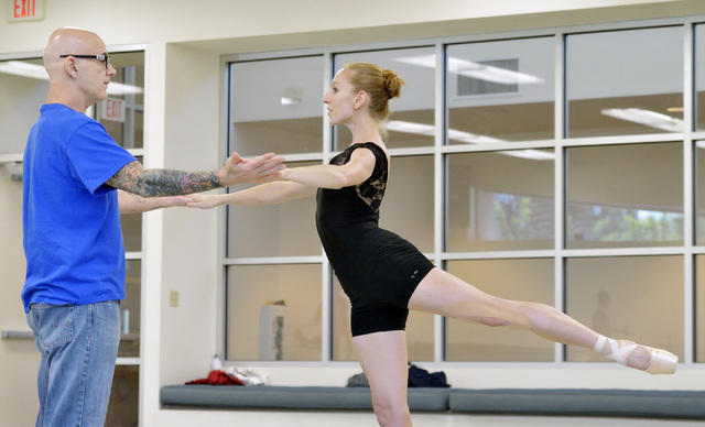 """Artistic Director James Canfield, left, works with dancer Mary LaCroix during a rehearsal for """"Seasons"""" at the Nevada Ballet Theatre studios at 1651 Inner Circle in Las Vegas on Wednesda ..."""