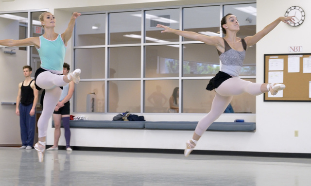"""Kaleigh Schock, left, and Krista Baker dance during a rehearsal for """"Seasons"""" at the Nevada Ballet Theatre studios at 1651 Inner Circle in Las Vegas on Wednesday, Sept. 10, 2014. The com ..."""