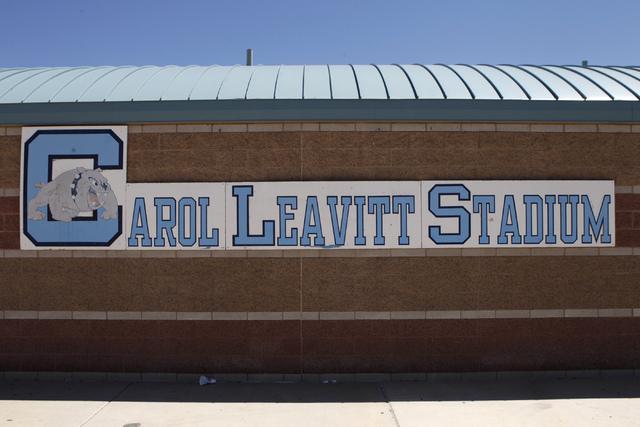 Carol Leavitt Stadium at Centennial High School in Las Vegas is seen on Monday, Aug. 25, 2014. Leavitt is the first principal at Centennial High School. (Erik Verduzco/Las Vegas Review-Journal)