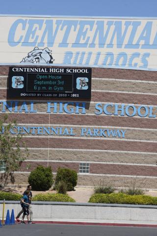 Centennial High School in Las Vegas is seen on Monday, Aug. 25, 2014. Centennial's football stadium was named after Carol Leavitt, the first principal at Centennial High School. (Erik Verduzco/Las ...